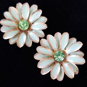 Vintage Mid Century Rhinestone Daisy Clip Earrings